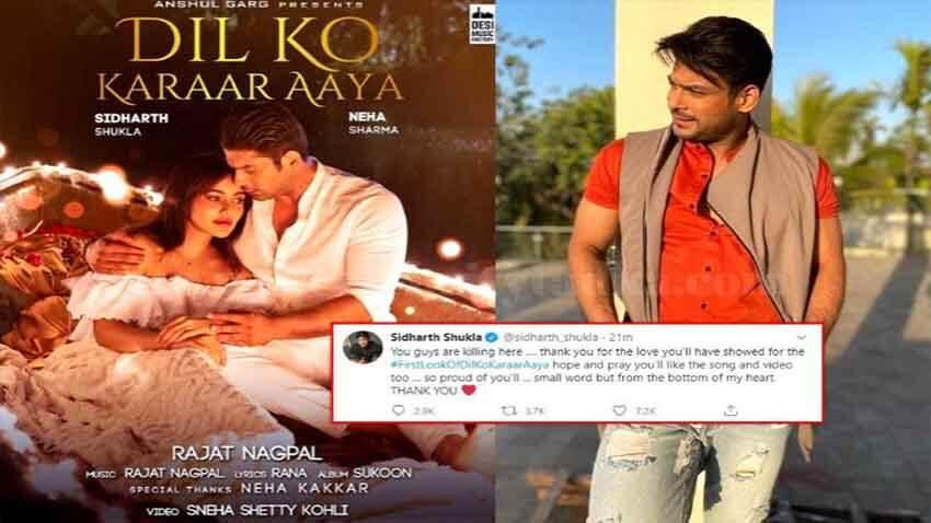 sidharth shukla thanks his fans Dil Ko Karaar Aaya with Bollywood actress Neha Sharma