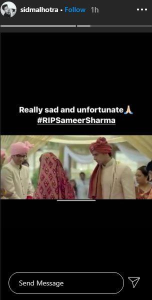 sidharth malhotra mourns sameer sharma demise