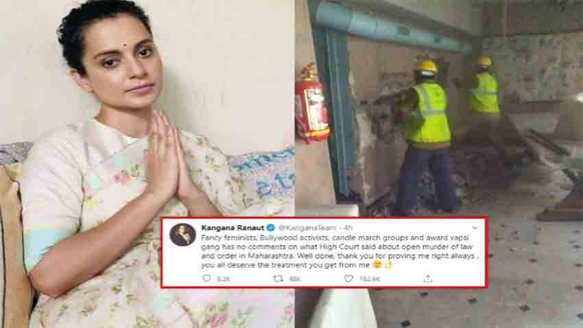 Kangana ranaut slams bollywood feminists mumbai bmc demolished her office