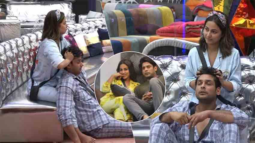Bigg BOss 14 hina khan giving head massage to sidharth shukla