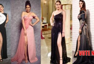 Hina Khan surbhi shehnaaz gill in thigh-high slit outfit