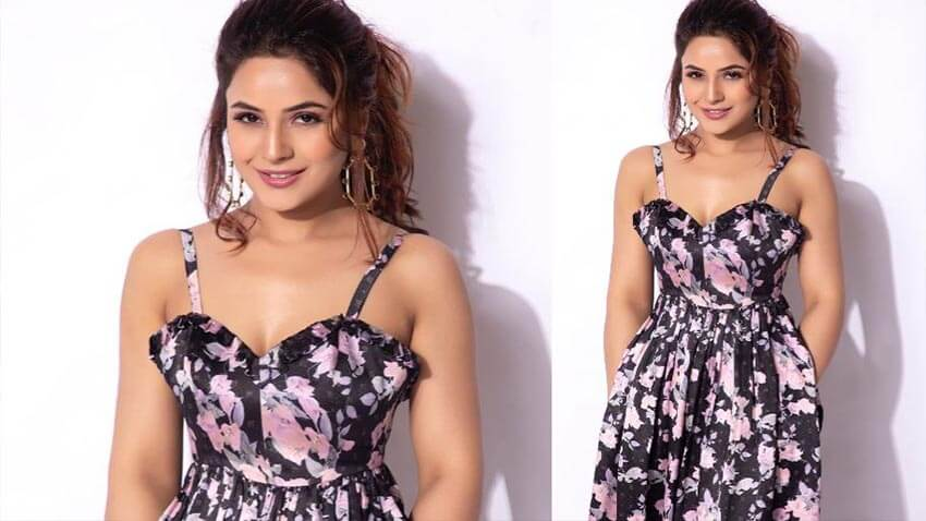 Shehnaaz Gill in floral dress
