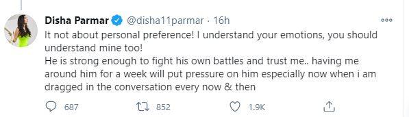 Disha Parmar twitter
