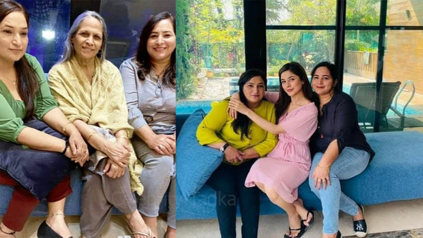 Shehnaaz Gill with her mother and Sidharth Shukla mother