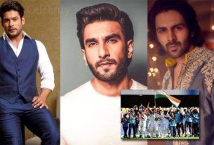 Sidharth Shukla Ranveer Singh Kartik Aaryan applauds Indian cricket team win