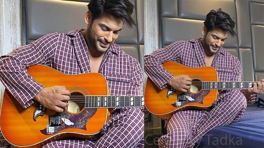 Sidharth Shukla playing guitar