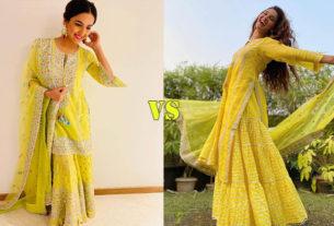 Jasmin bhasin Mukti mohan in light green sharara