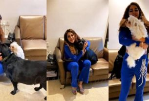 Nikki Tamboli playing with her pets