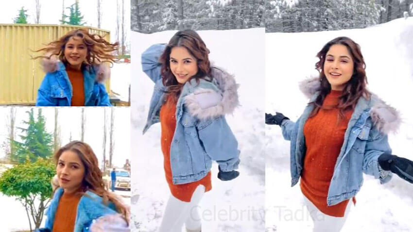 Shehnaaz gill enjoying snowy weather in Kashmir