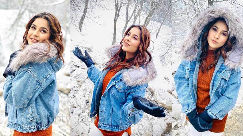 Shehnaaz gill enjoys snow fall in kashmir