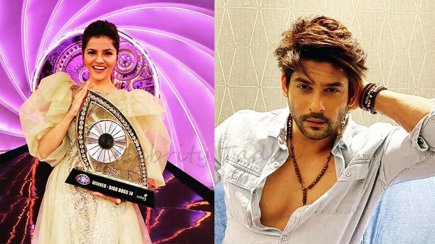 Sidharth Shukla congratulates bigg boss 14 winner Rubina Dilaik for her victory