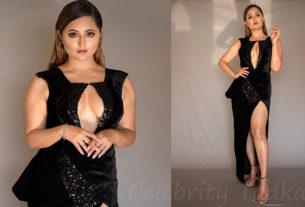 Rashami Desai in thigh high black dress