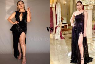 Rashami Desai surbhi chandna in thigh high slit dress
