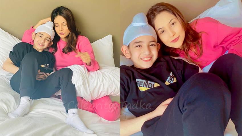 Shehnaaz Gill with child co-star Shinda Grewal Honsla Rakh film