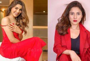 Nikki Tamboli Shehnaaz Gill in red dress