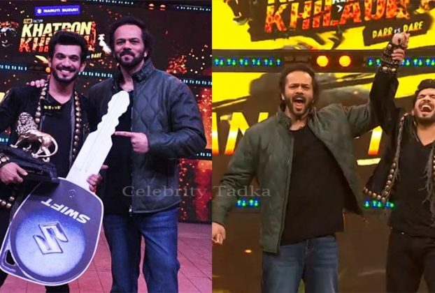 Khatron Ke Khiladi 11 Winner Arjun Bijlani with host Rohit Shetty